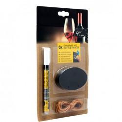 Etichete ovale pentru sticle de vin cu snur din piele - 6 buc